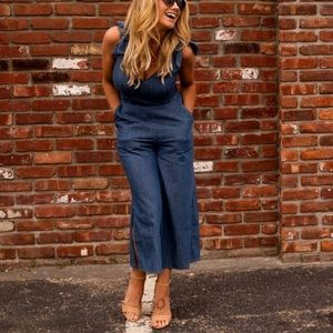 Cropped Wide Leg Chambray Jumpsuit